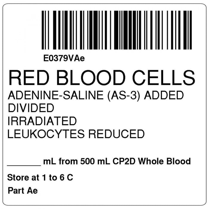 "Label, Isbt 128, Synthetic, Permanent, ""Red Blood Cells Adenine"", 2 X 2, White, 500 Per Roll"