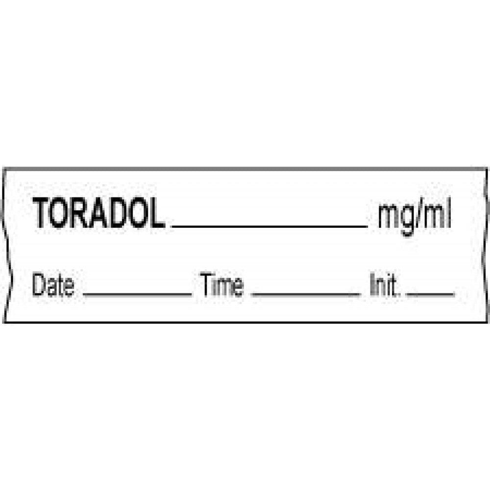 "Tape With Date, Time, And Initial Removable Toradol Mg/Ml 1"" Core 1/2"" X 500"" Imprints White 333 500 Inches Per Roll"