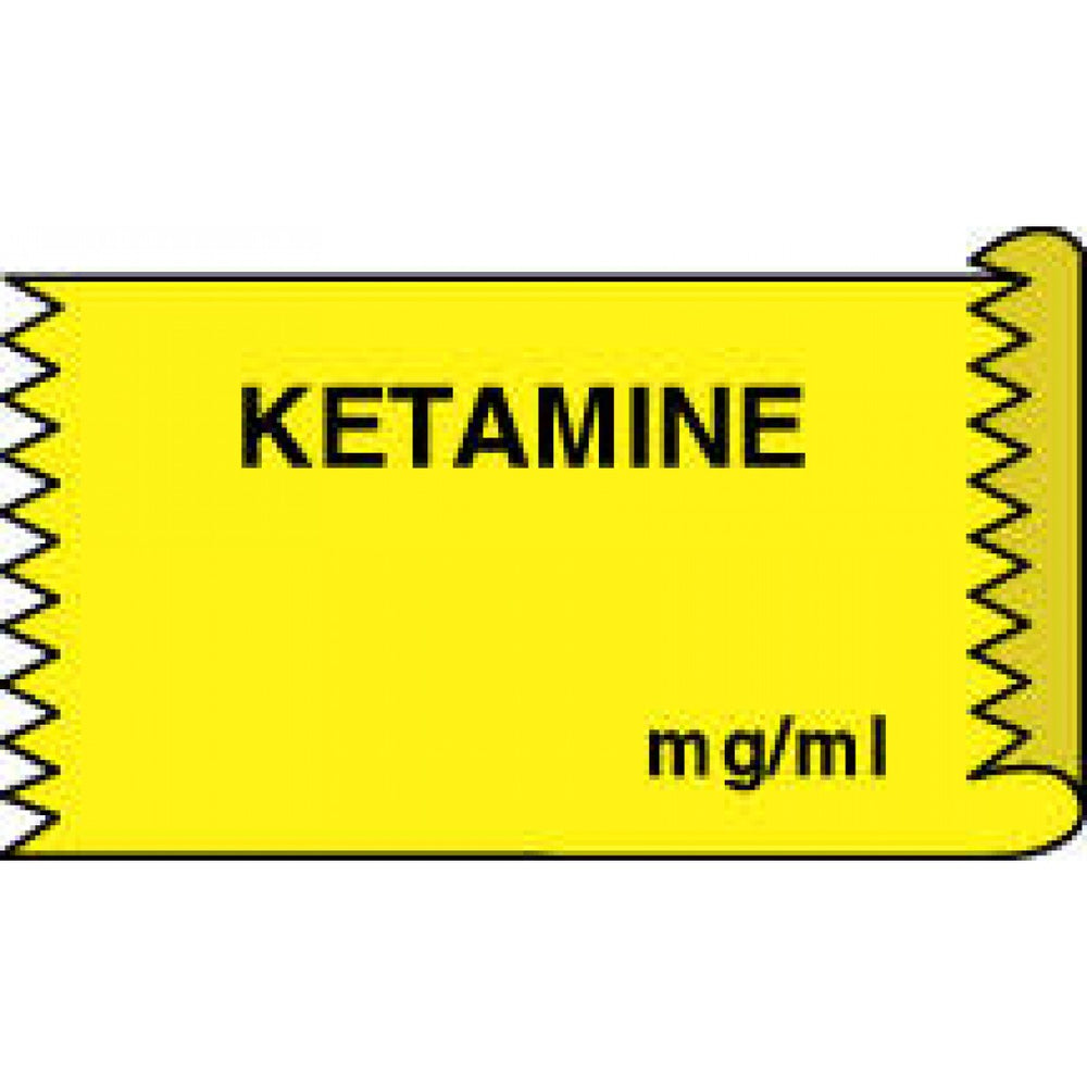 "Tape Removable Ketamine Mg/Ml 1"" Core 1/2"" X 500"" Imprints Yellow 333 500 Inches Per Roll"