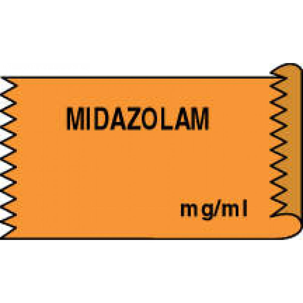 "Tape Removable Midazolam Mg/Ml 1"" Core 1/2"" X 500"" Imprints Orange 333 500 Inches Per Roll"