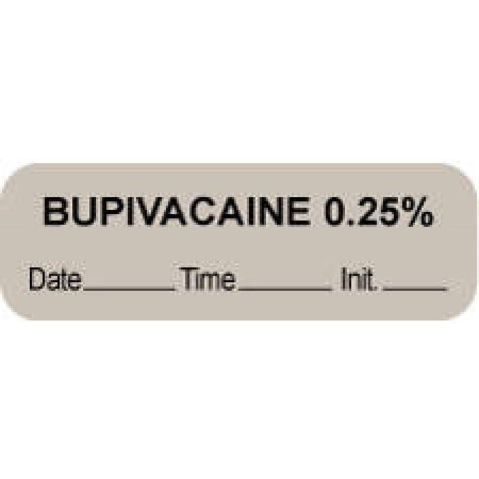 "Anesthesia Label With Date, Time, And Initial Paper Permanent ""Bupivacaine 0.25%"" Core 1 1/2"" X 1/2"" Gray 1000 Per Roll"
