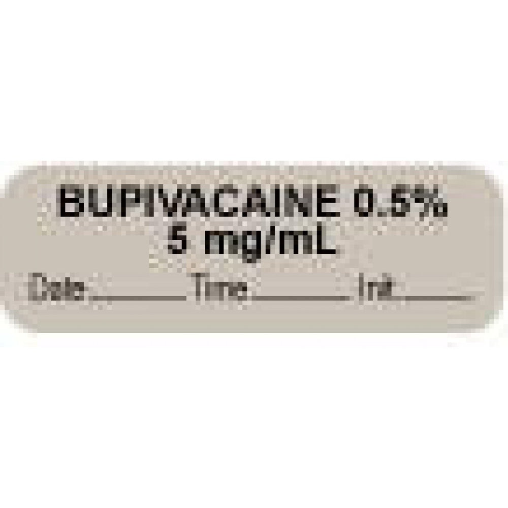 "Anesthesia Label With Date, Time, And Initial Paper Permanent ""Bupivacaine 0.05% 5"" Core 1 1/2"" X 1/2"" Gray 1000 Per Roll"