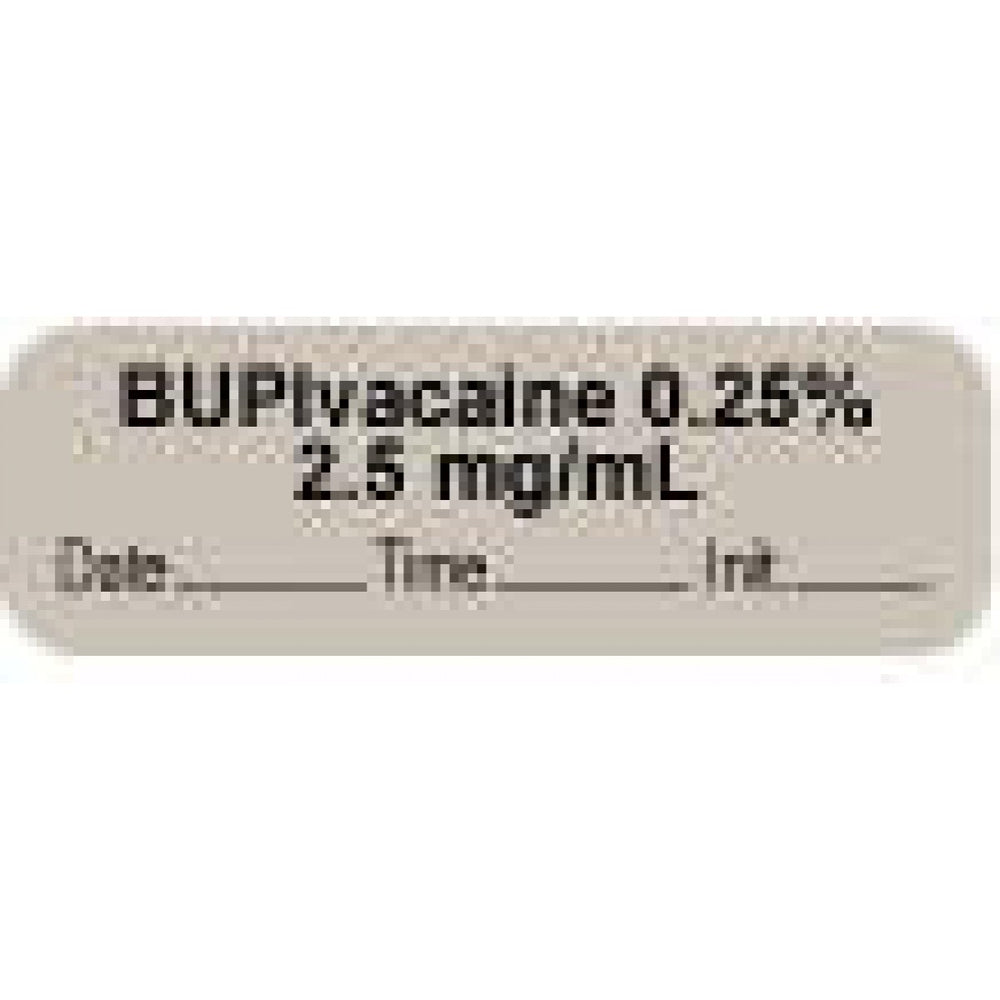"Anesthesia Label With Date, Time, And Initial | Tall-Man Lettering Paper Permanent ""Bupivacaine 0.25% 2.5"" Core 1 1/2"" X 1/2"" Gray 1000 Per Roll"