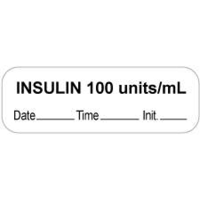 "Anesthesia Label With Date, Time, And Initial Paper Permanent ""Insulin 100 Units/Ml"" Core 1 1/2"" X 1/2"" White 1000 Per Roll"