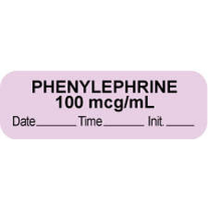 "Anesthesia Label With Date, Time, And Initial Paper Permanent ""Phenylephrine 100 Mcg"" Core 1.5"" X 0.5"" Violet 1000 Per Roll"