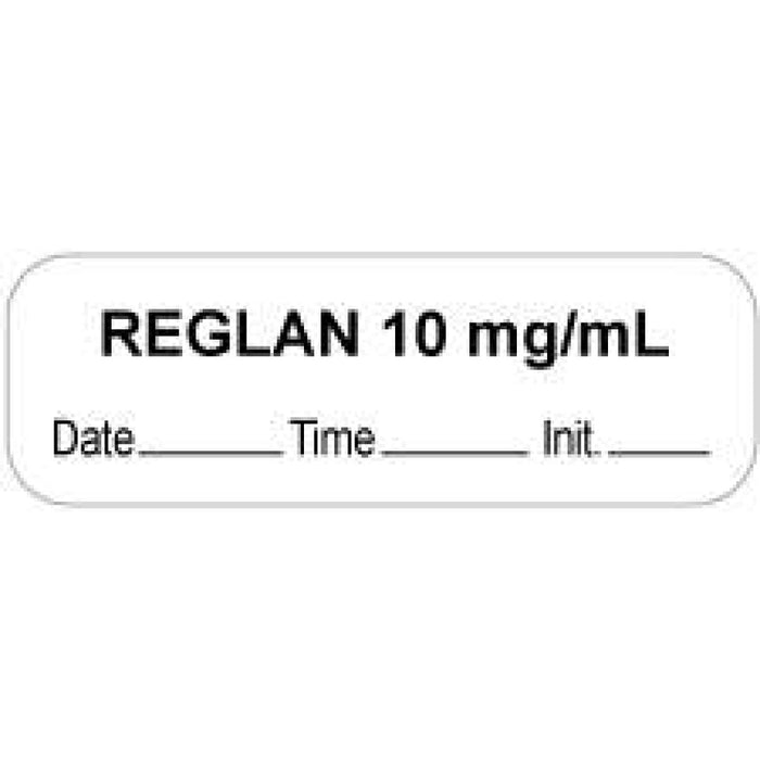 "Anesthesia Label With Date, Time, And Initial Paper Permanent ""Reglan 10 Mg/Ml"" Core 1.5"" X 0.5"" White 1000 Per Roll"