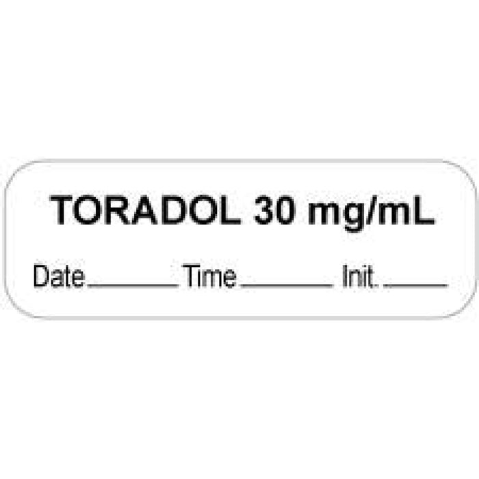 "Anesthesia Label With Date, Time, And Initial Paper Permanent ""Toradol 30 Mg/Ml"" Core 1.5"" X 0.5"" White 1000 Per Roll"