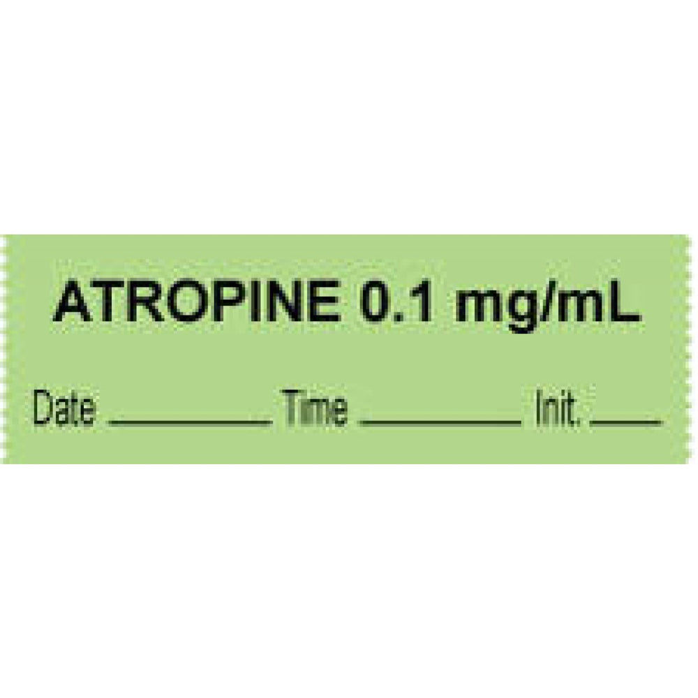 "Anesthesia Tape With Date, Time, And Initial Removable ""Atropine 0.1 Mg/Ml"" 1"" Core 0.5"" X 500"" Green 333 Imprints 500 Inches Per Roll"