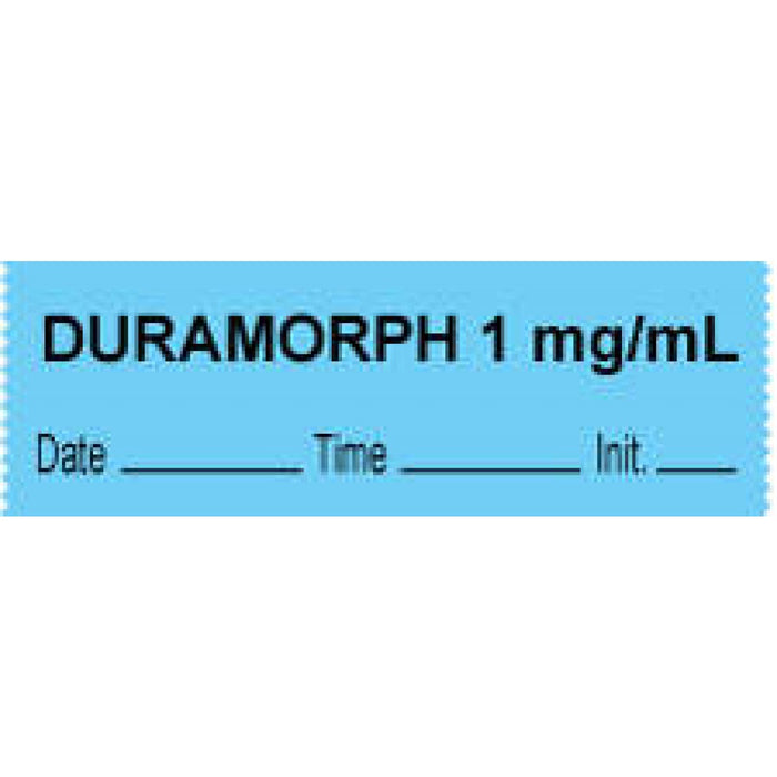 "Anesthesia Tape With Date, Time, And Initial Removable ""Duramorph 1 Mg/Ml"" 1"" Core 0.5"" X 500"" Blue 333 Imprints 500 Inches Per Roll"