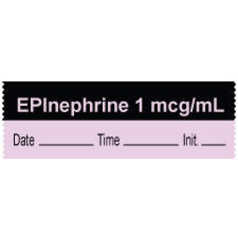 "Anesthesia Tape With Date, Time, And Initial | Tall-Man Lettering Removable ""Epinephrine 1 Mcg/Ml"" 1"" Core 0.5"" X 500"" Violet And Black 333 Imprints 500 Inches Per Roll"