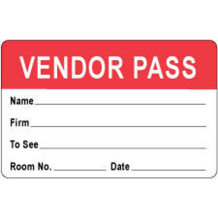 "Visitor Pass Label Paper Removable Representative Pass 1"" Core 2 3/4 "" X 1 3/4"" Red 1000 Per Roll"