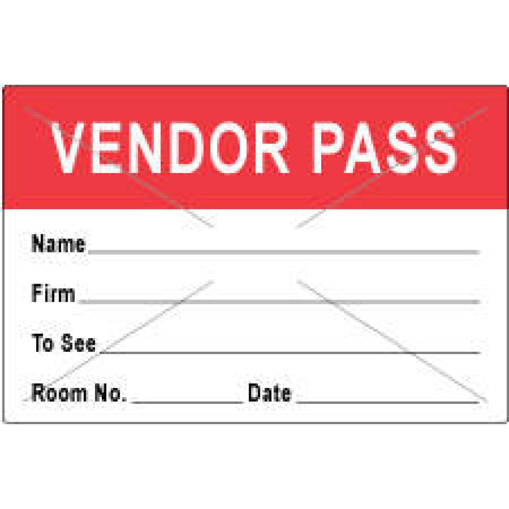 "Visitor Pass Label Tamper-Evident Paper Removable Vendor Pass Name 1"" Core 3"" X 2"" Red 1000 Per Roll"