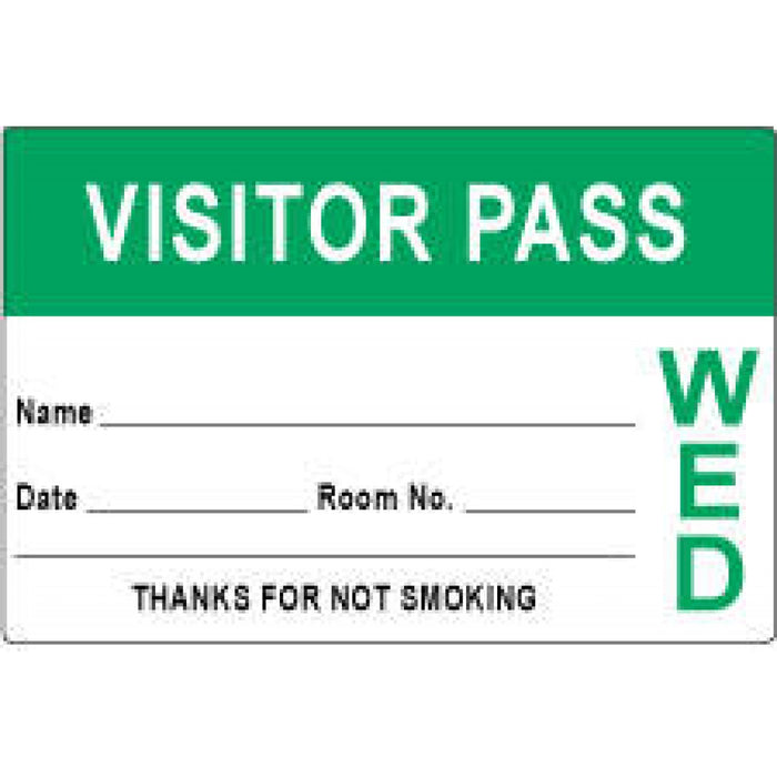 "Visitor Pass Label Paper Removable Visitor Pass Name 3"" X 2"" Light Green 1000 Per Roll"