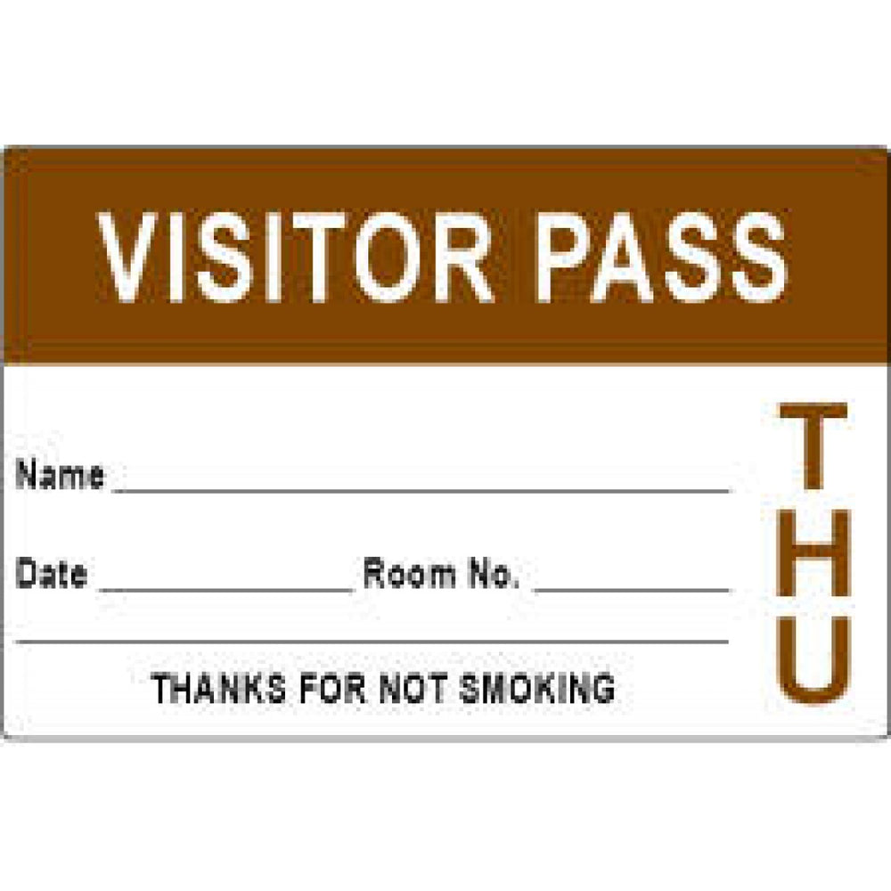 "Visitor Pass Label Paper Permanent Visitor Pass Name 3"" X 2"" Brown 1000 Per Roll"