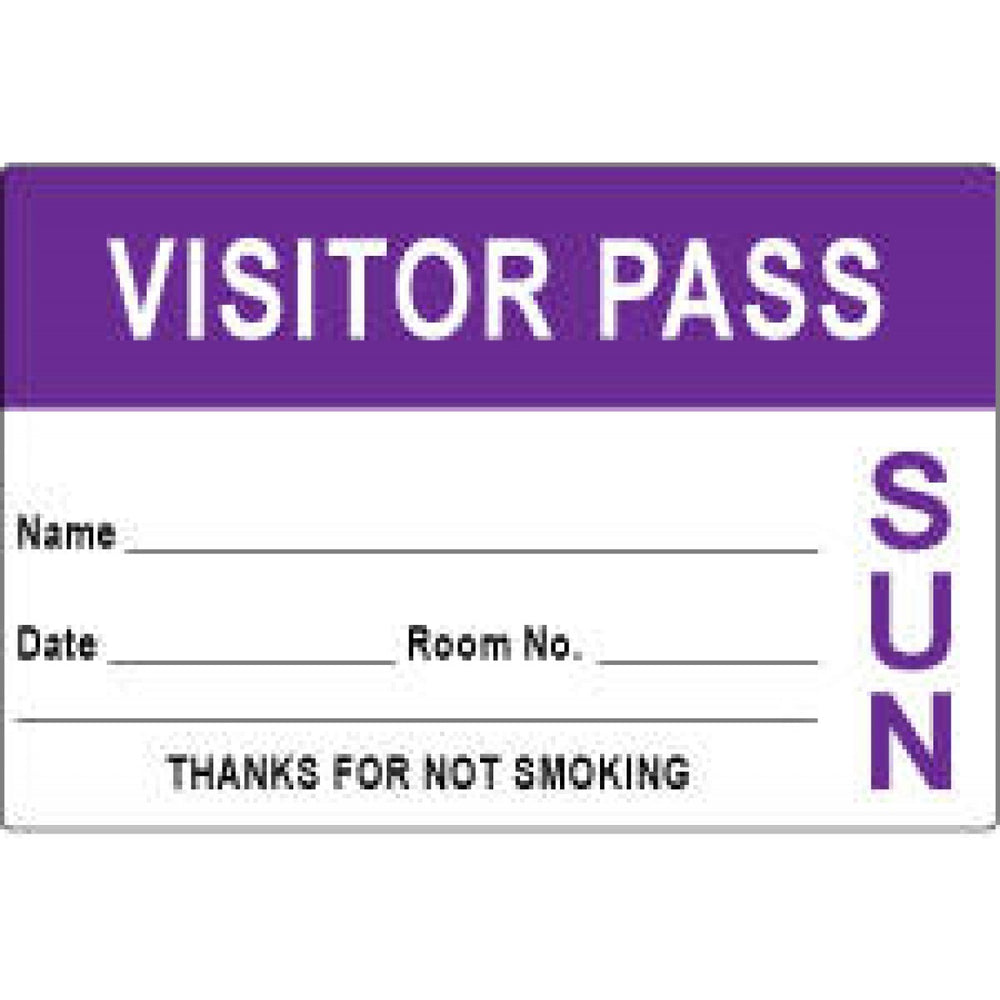 "Visitor Pass Label Paper Removable Visitor Pass Name 3"" X 2"" Purple 1000 Per Roll"