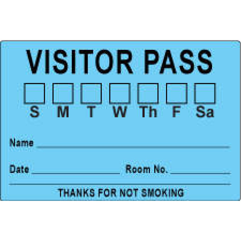 "Visitor Pass Label Paper Removable Visitor Pass S M T 3"" Core 3 X 2"" Blue 1000 Per Roll"