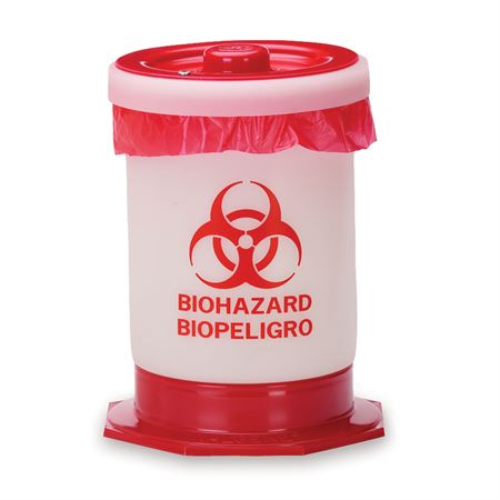 "Autoclavable Biohazard Container 1.5gal with Base - 8.25""Dia x 10.5""H"