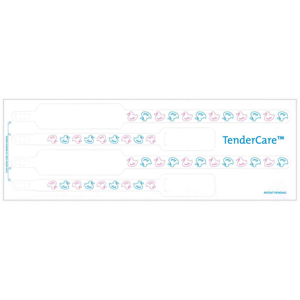 "Tendercare Thermal Wristband Thermal 4Pt Mother, Father, Baby Set; Adhesive Closure X 1 1/2"" 11"" L X 1"" H (Adult) 7"" L X 8"" H (Infant) White With Ducks - 400 Per Box"