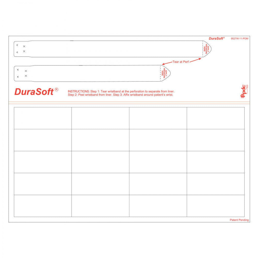 Durasoft Wristband And Labels 20 Labels, 2 Wristbands 500 Sheets/Case