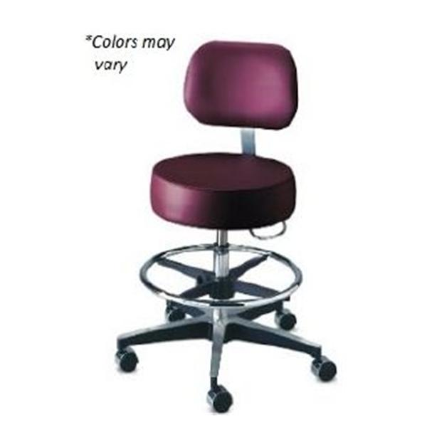 Brewer Company Stool Exam Century Series Black Casters Backrest 5 Leg Ea (11001BFR-US393)