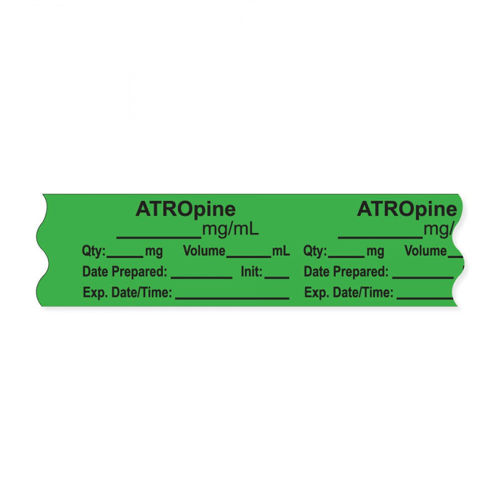 "Anesthesia Tape, With Experation Date, Time, And Initial, Removable, ""Atropine Mg/Ml"", 1"" Core, 3/4"" X 500"", Green, 333 Imprints, 500 Inches Per Roll"