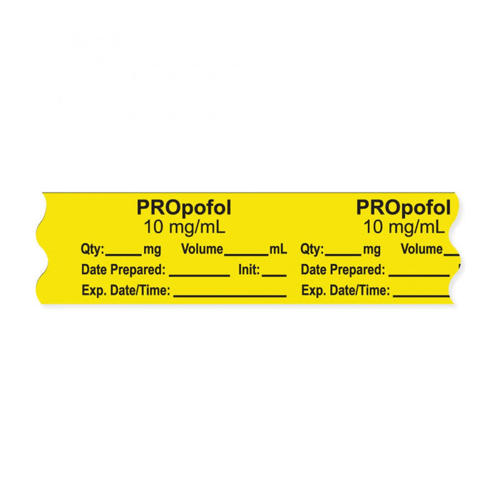 "Anesthesia Tape, With Experation Date, Time, And Initial, Removable, ""Propofol 10 Mg/Ml"", 1"" Core, 3/4"" X 500"", Yellow, 333 Imprints, 500 Inches Per Roll"