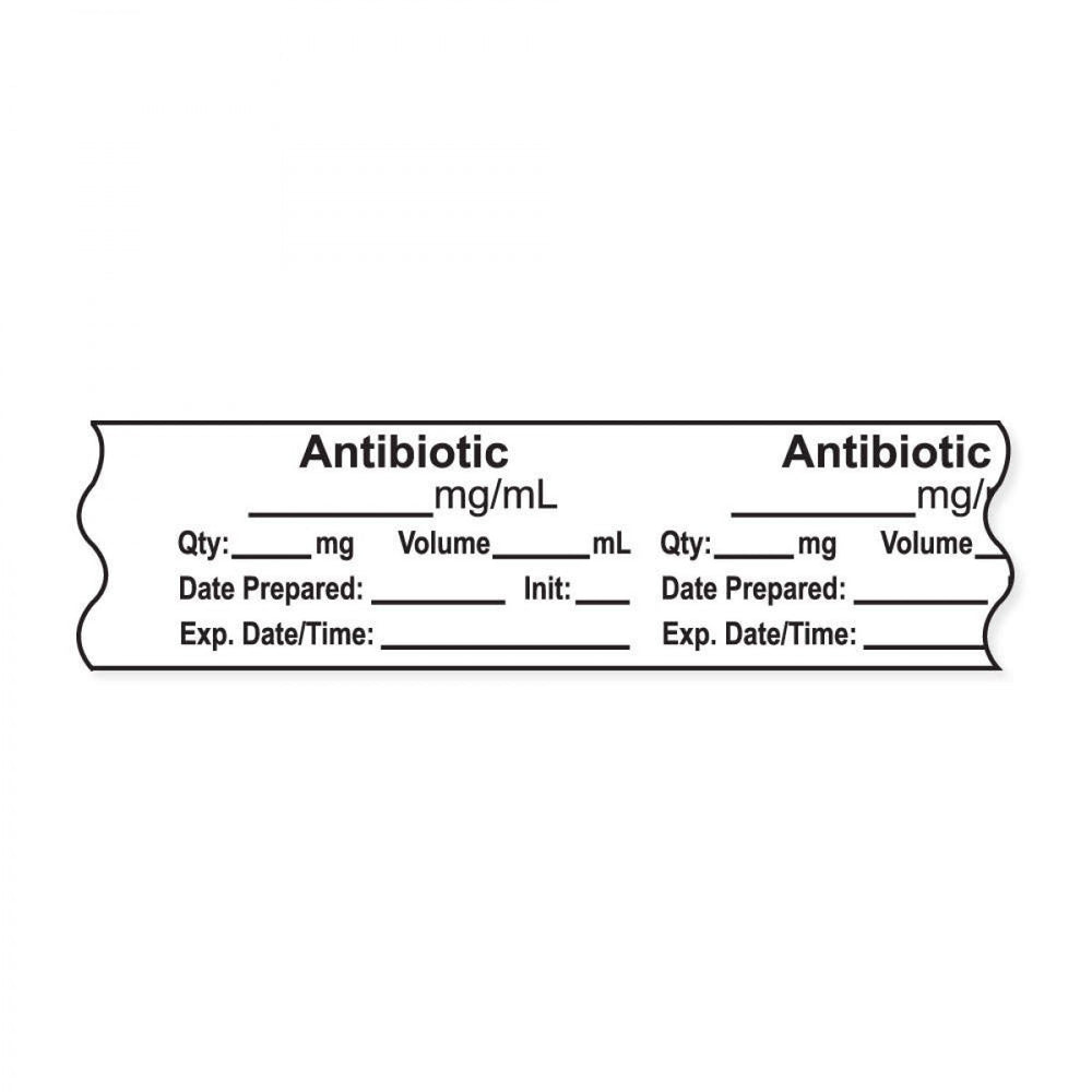 "Anesthesia Tape, With Experation Date, Time, And Initial, Removable, ""Antibiotic Mg/Ml"", 1"" Core, 3/4"" X 500"", White, 333 Imprints, 500 Inches Per Roll"