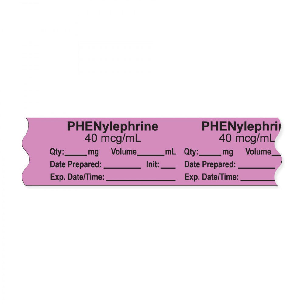 "Anesthesia Tape, With Experation Date, Time, And Initial, Removable, ""Phenylephrine 40 Mcg/Ml"", 1"" Core, 3/4"" X 500"", Violet, 333 Imprints, 500 Inches Per Roll"