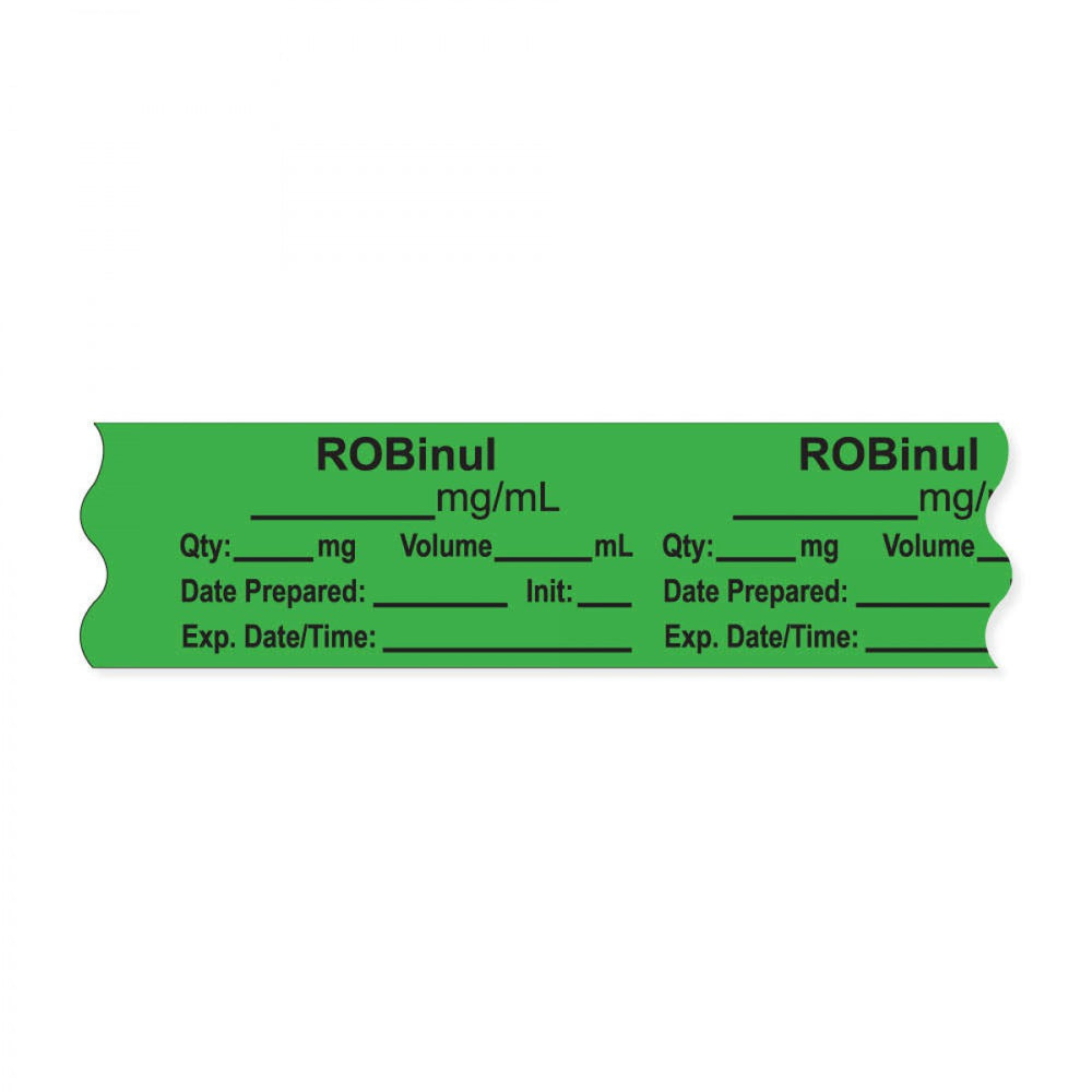 "Anesthesia Tape, With Experation Date, Time, And Initial, Removable, ""Robinul Mg/Ml"", 1"" Core, 3/4"" X 500"", Green, 333 Imprints, 500 Inches Per Roll"