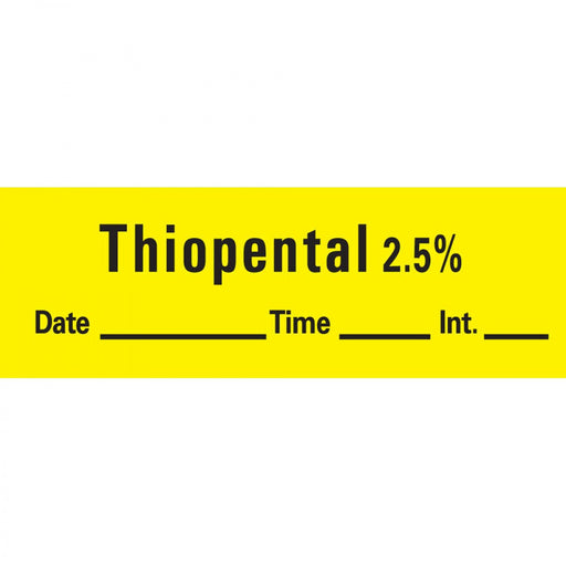 "Anesthesia Tape With Date, Time, And Initial Removable Thiopental 2.5% 1"" Core 1/2"" X 500"" Imprints Yellow 333 500 Inches Per Roll"