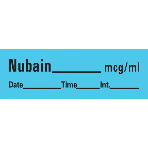 "Anesthesia Tape With Date, Time, And Initial Removable Nubain Mcg/Ml 1"" Core 1/2"" X 500"" Imprints Blue 333 500 Inches Per Roll"