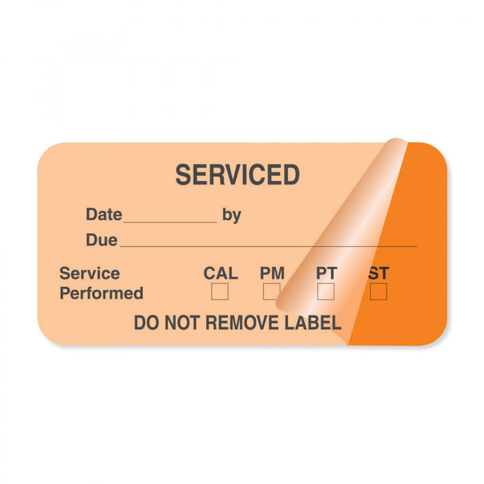 "Label Self-Laminating Paper Removable Serviced Date 1"" 1/2"" Core 2 X 1 Fl. Orange 1000 Per Roll"
