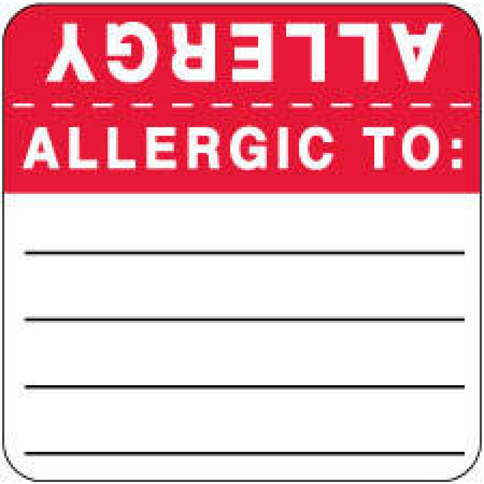 "Label Wraparound Paper Permanent Allergy Allergic To: 2"" X 2 White With Red 500 Per Roll"