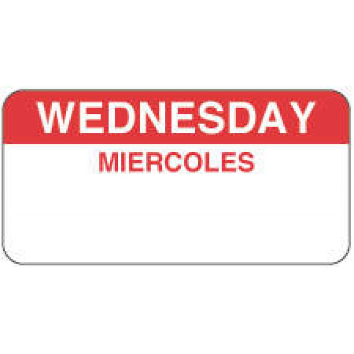 "Label Paper Permanent Wednesday Miercoles 2"" X 1"" White With Red 1000 Per Roll"