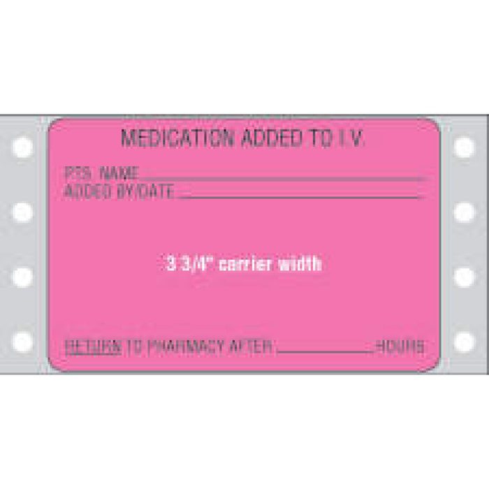 "Label Dot Matrix Paper Permanent Medication Added To 3"" X 1.9375 Fl. Pink 2500 Per Case"