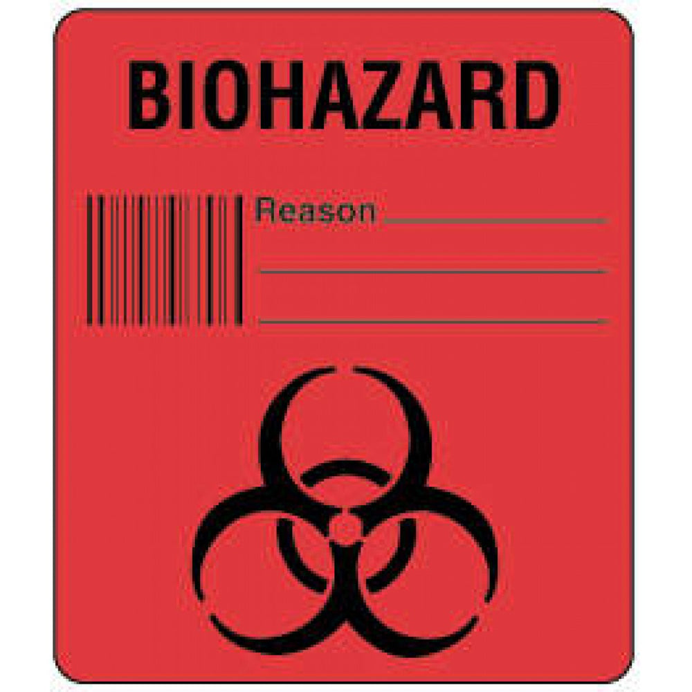 "Label Paper Permanent Biohazard Reason 1 1/2"" X 1 3/4"" Fl. Red 250 Per Roll"