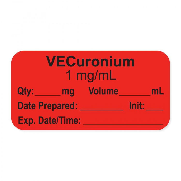"Anesthesia Label, With Experation Date, Time, And Initial, Paper, Permanent, ""Vecuronium 1 Mg/Ml"", 1"" Core, 1-1/2"" X 3/4"", Fl. Red, 500 Per Roll"