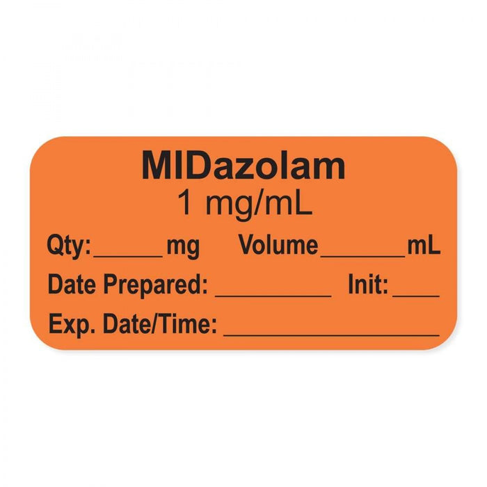 "Anesthesia Label, With Experation Date, Time, And Initial, Paper, Permanent, ""Midazolam 1 Mg/Ml"", 1"" Core, 1-1/2"" X 3/4"", Orange, 500 Per Roll"
