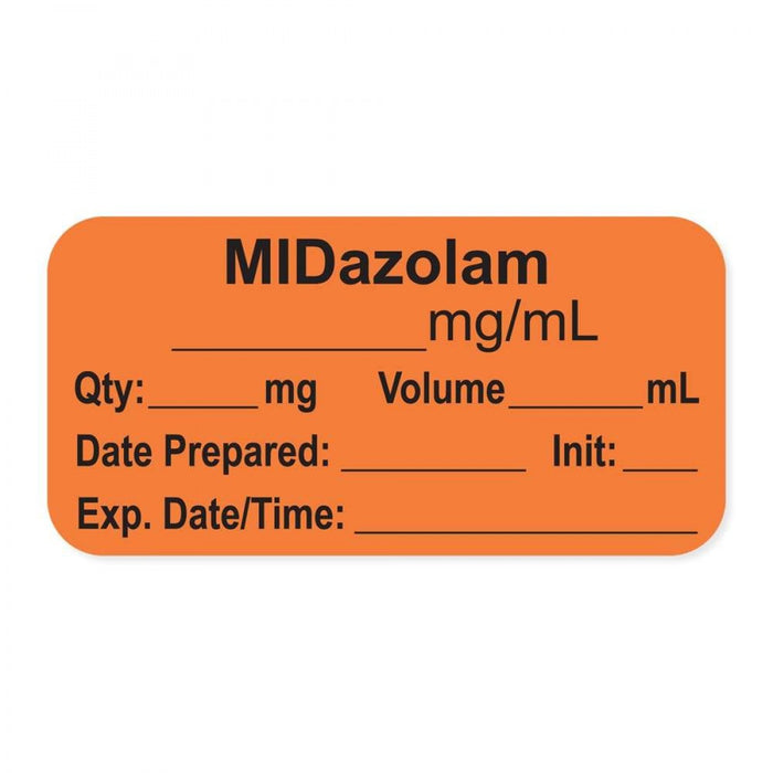 "Anesthesia Label, With Experation Date, Time, And Initial, Paper, Permanent, ""Midazolam Mg/Ml"", 1"" Core, 1-1/2"" X 3/4"", Orange, 500 Per Roll"