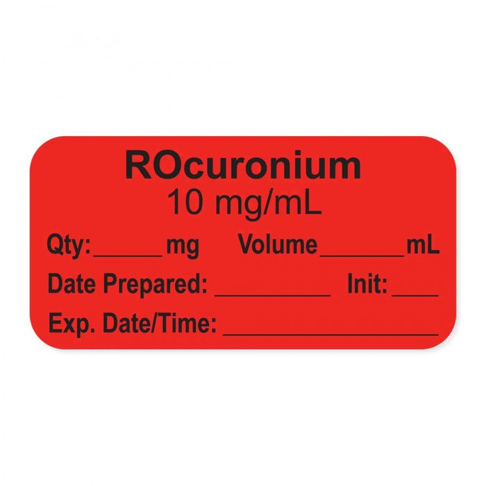 "Anesthesia Label, With Experation Date, Time, And Initial, Paper, Permanent, ""Rocuronium 10 Mg/Ml"", 1"" Core, 1-1/2"" X 3/4"", Fl. Red, 500 Per Roll"