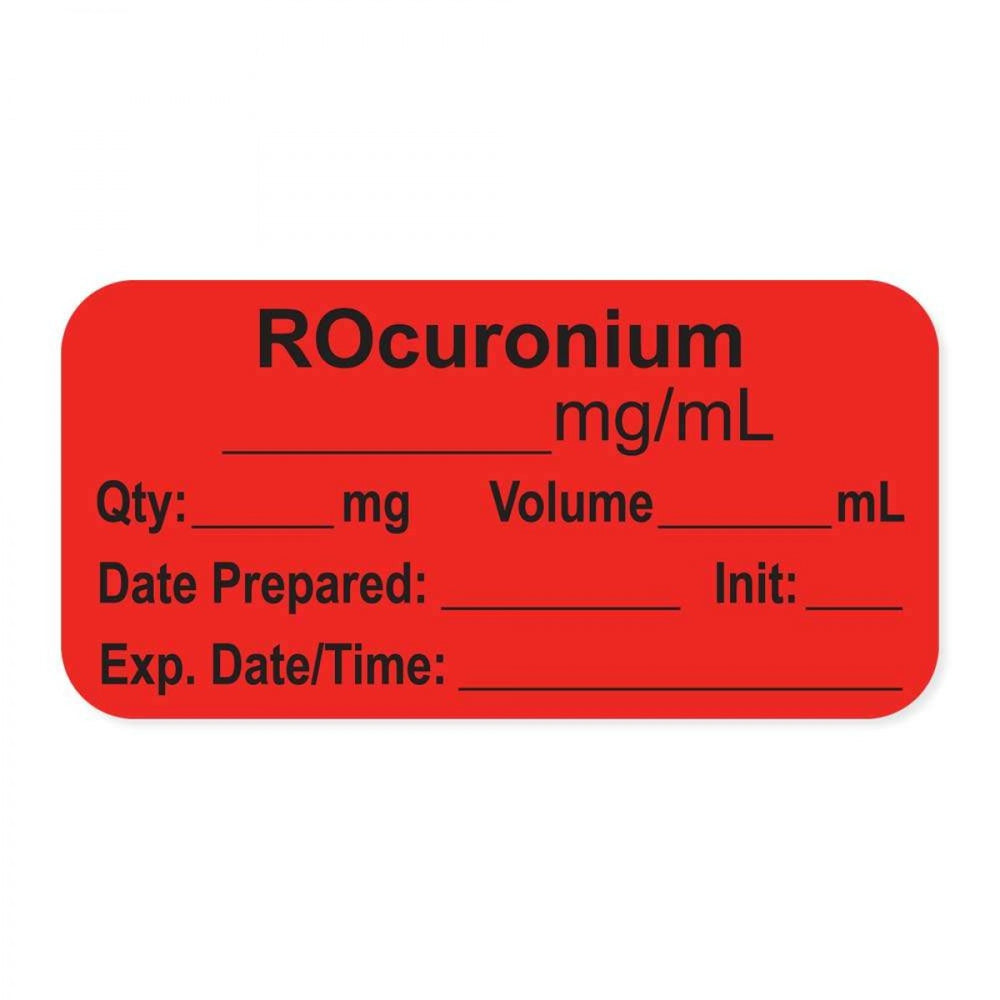 "Anesthesia Label, With Experation Date, Time, And Initial, Paper, Permanent, ""Rocuronium Mg/Ml"", 1"" Core, 1-1/2"" X 3/4"", Fl. Red, 500 Per Roll"