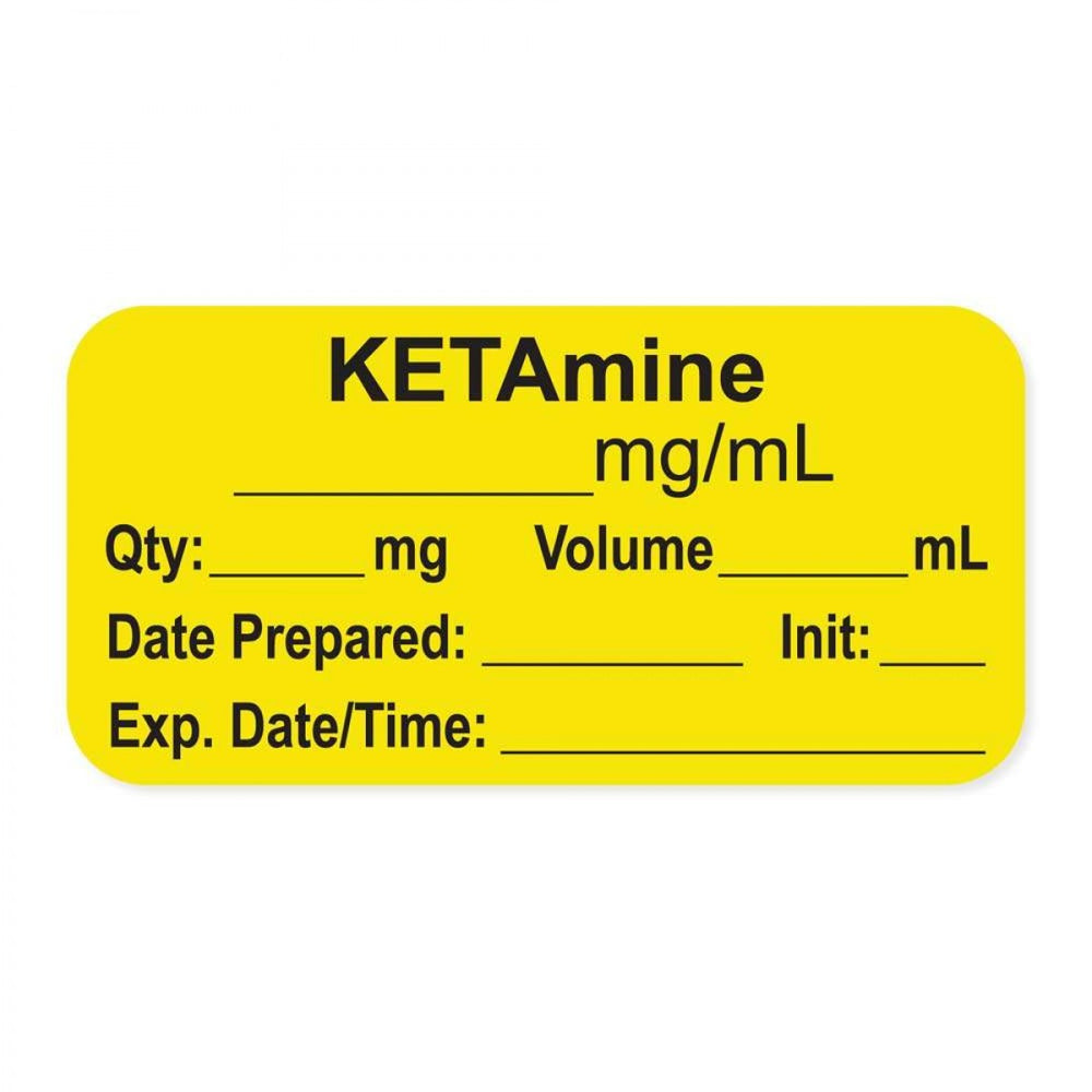 "Anesthesia Label, With Experation Date, Time, And Initial, Paper, Permanent, ""Ketamine Mg/Ml"", 1"" Core, 1-1/2"" X 3/4"", Yellow, 500 Per Roll"