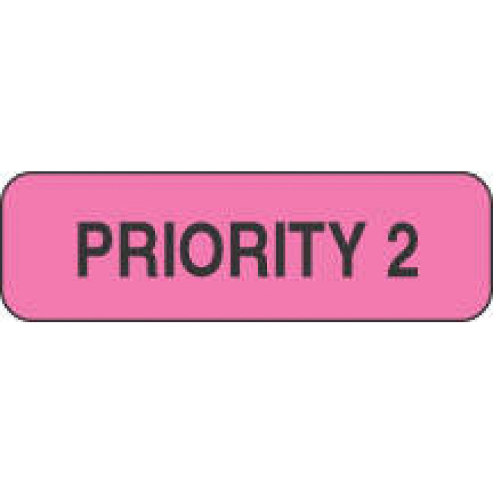 "Label Paper Permanent Priority 2 1 1/4"" X 3/8"" Fl. Pink 1000 Per Roll"