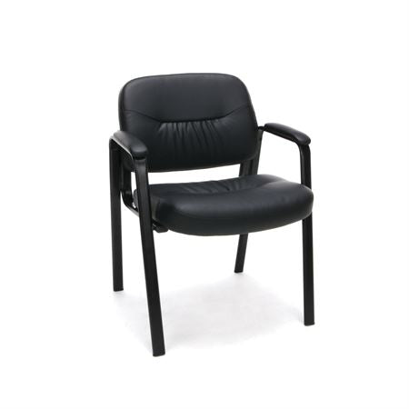 Leather Executive Side Chair with Padded Arms Sled Base