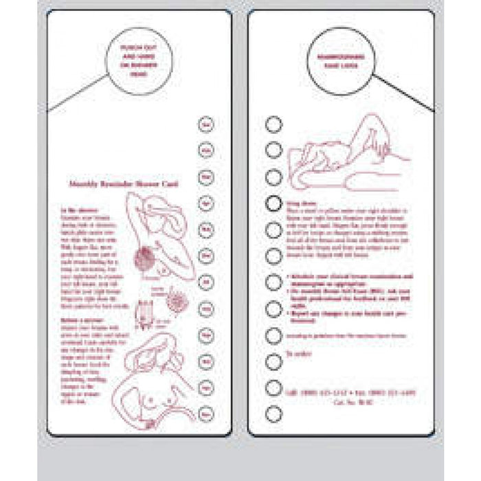 Patient Education Breast Self Exam Shower Card White And Maroon 1/Each
