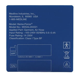 Medline Hemo-Force DVT Pump Parts and Accessories - CE Label for Hemo-Force MDS600INT DVT Pump - MDSAL204221
