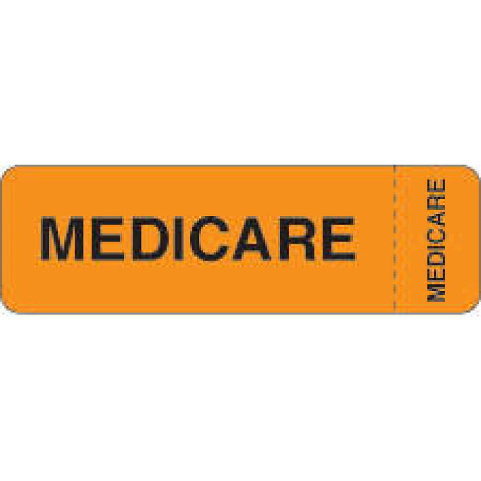 "Label Wraparound Paper Removable Medicare Medicare 2 7/8"" X 7/8"" Fl. Orange 1000 Per Roll"