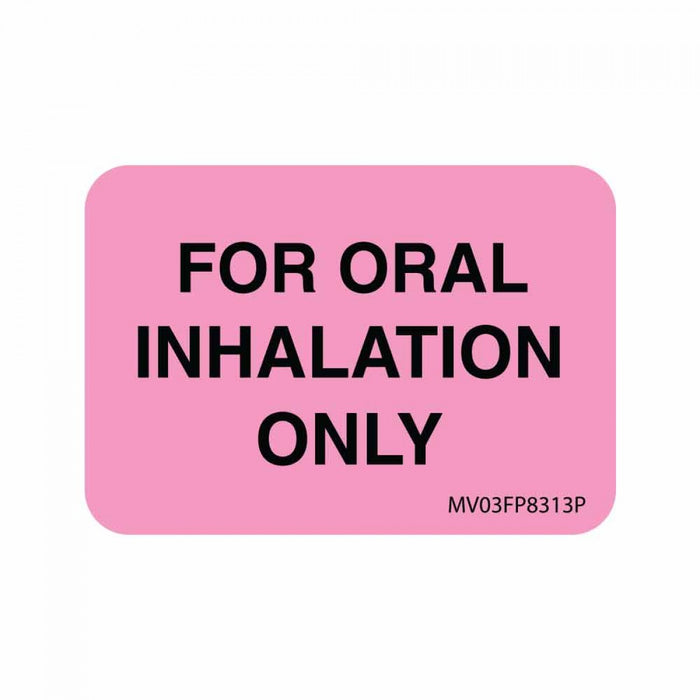 "Label Paper Permanent For Oral Inhalation 1"" Core 1 7/16"" X 1 Fl. Pink 666 Per Roll"