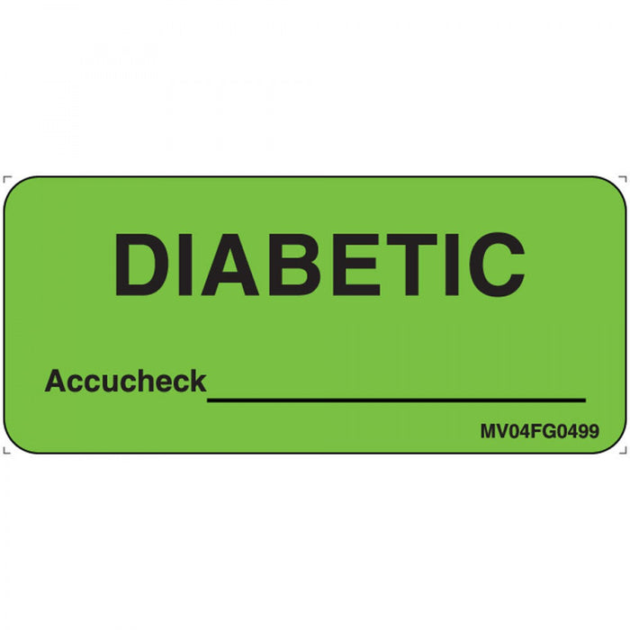 "Label Paper Removable Diabetic Accucheck 1"" Core 2 1/4"" X 1 Fl. Green 420 Per Roll"
