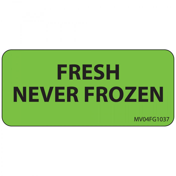 "Label Paper Removable Fresh Never Frozen 1"" Core 2 1/4"" X 1 Fl. Green 420 Per Roll"